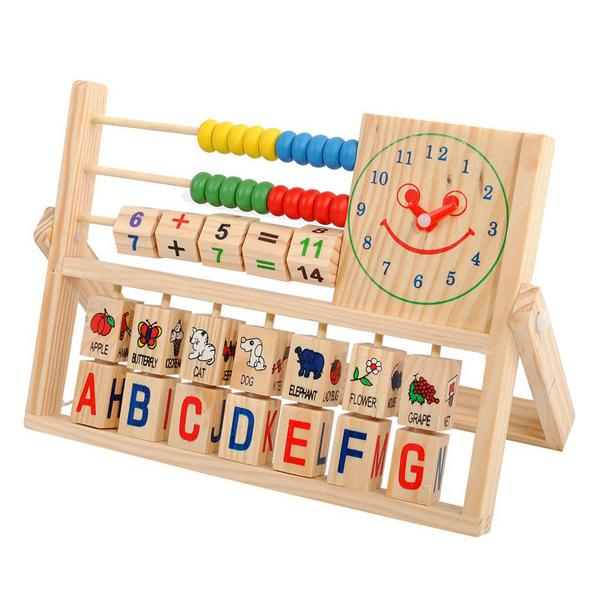 Education Toys Wood Block Baby Toys Multifunction Flap Calculation ...