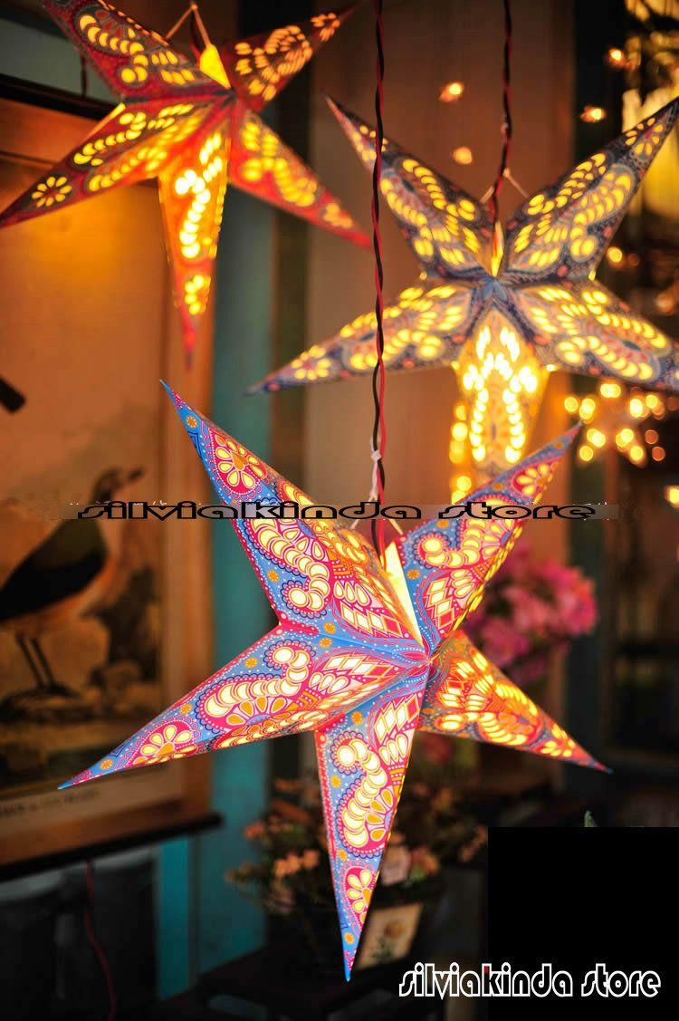 2019 45cm18inch Paper Laser Pink Star Light Hanging