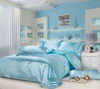 New Silk Queen Bedding Quilt Duvet Cover Sets Light Blue ...