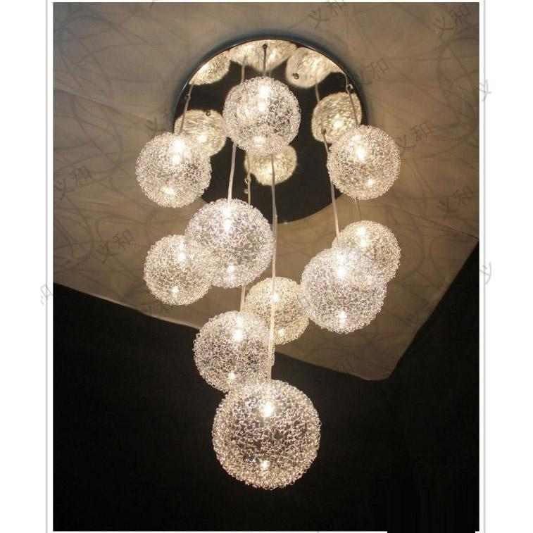 hanging light fixtures living room mirrored tv cabinet furniture 10 heads glass aluminum wire balls ceiling pendant dining kitchen stair lighting