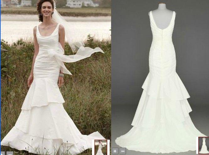 Discount Custom Made 2013 Taffeta Scoop Neck Ruched Bridal