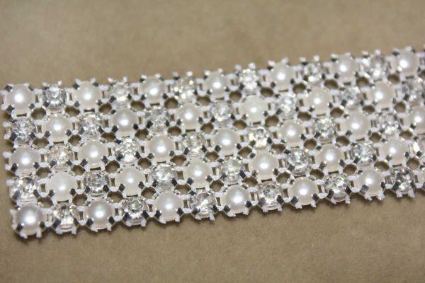 P4 1 Yard 5 Rows Diamond Rhinestone And Pearl Wedding