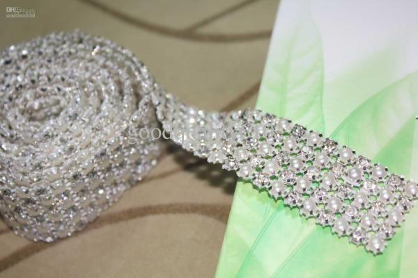 P4 1 Yard 5 Rows Diamond Rhinestone And Pearl Wedding