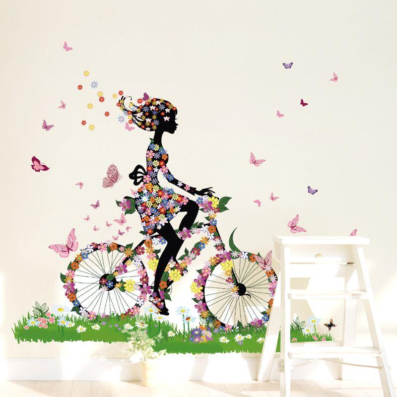 flower girl riding bike wall sticker bicycling flower girl d wall