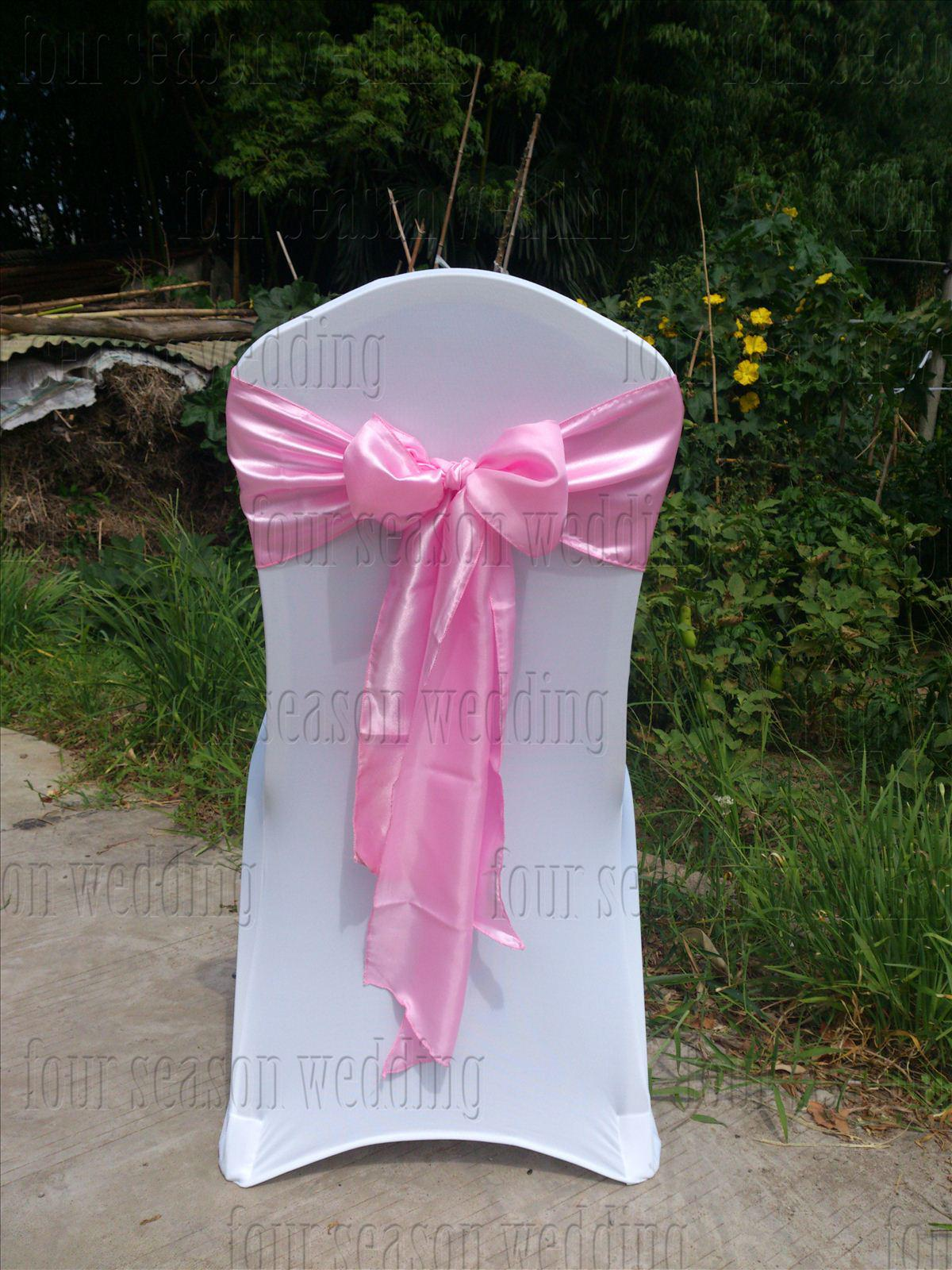 chair covers with pink bows feet amazon satin sash bow ribbon wedding