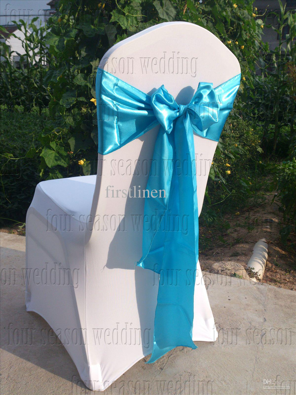 party chair covers canada hand painted childrens chairs sky blue satin sash bow ribbon wedding banquet