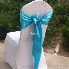 Teal Chair Covers For Wedding The Egg Sky Blue Satin Sash Bow Ribbon Party Banquet