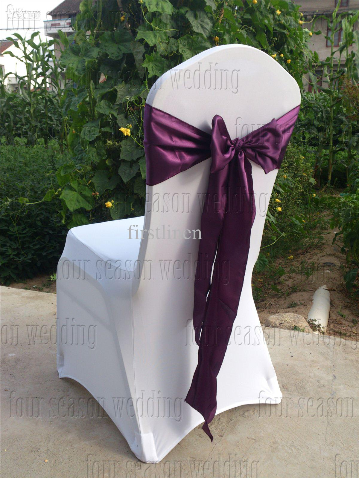 party chair covers canada off white dining dark purple satin sash bow ribbon wedding