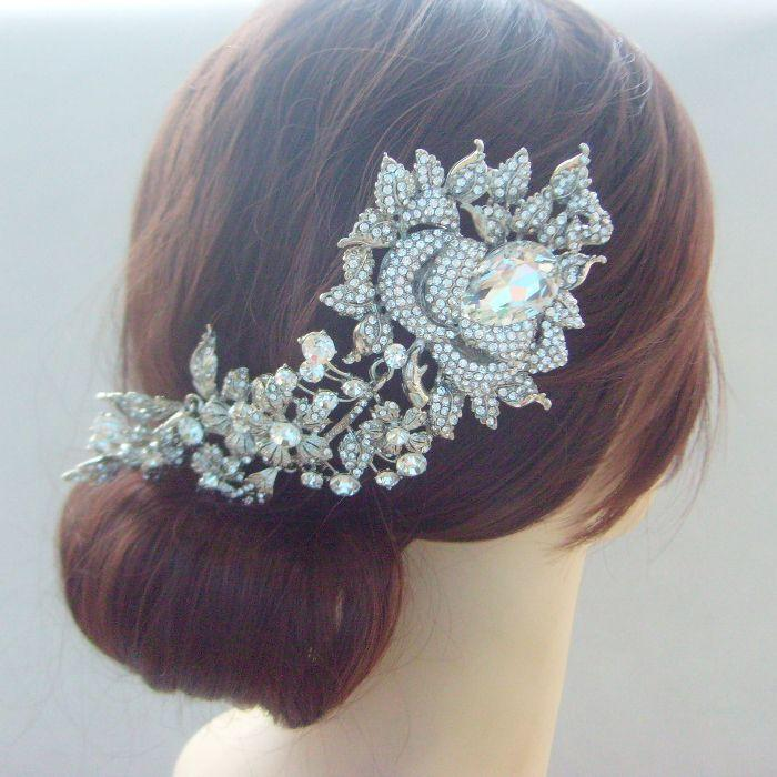 this is a high quality pretty bridal orchid flower hair comb for wedding this item is made of alloy which is done in silver tone plated with clear