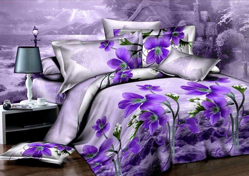 Purple Orchid Flower Unique DuvetQuilt Cover Modern Queen