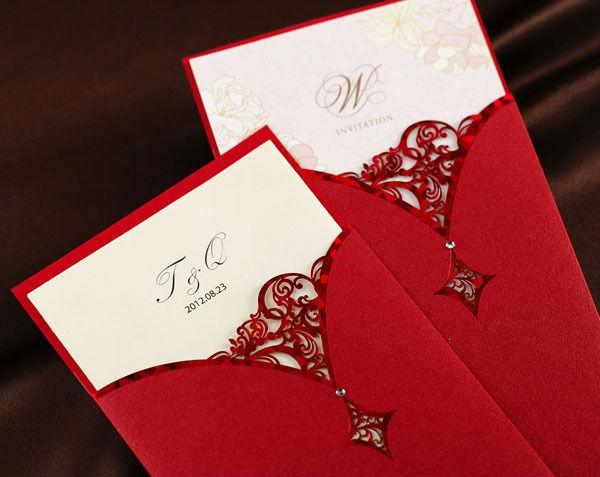 Cutout Design Inserted Wedding Invitation In Red50