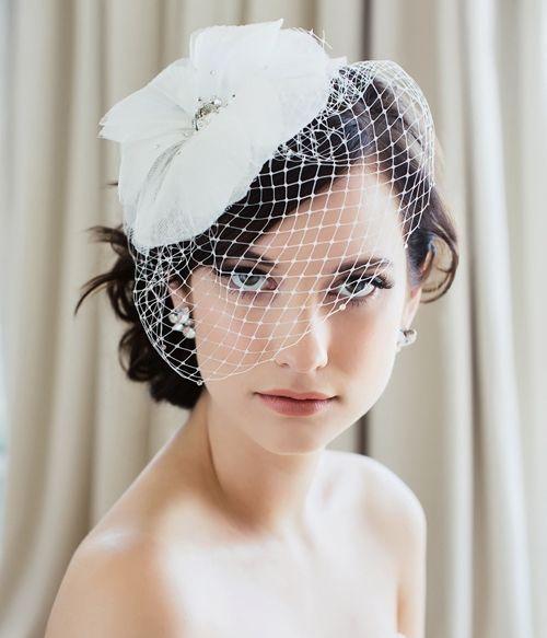 exquisite vintage white net flower beaded birdcage veil headpiece head veil wedding bridal accessories unique hair accessories updo hair pieces from