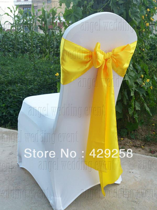 yellow chair covers rent lift wholesale white spandex satin sashes free shipping 100pcs