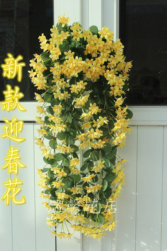 2018 1p 70cm Artificial Flower Silk Winter Jasmine Flower Vine Plastic Wisteria For Home Party