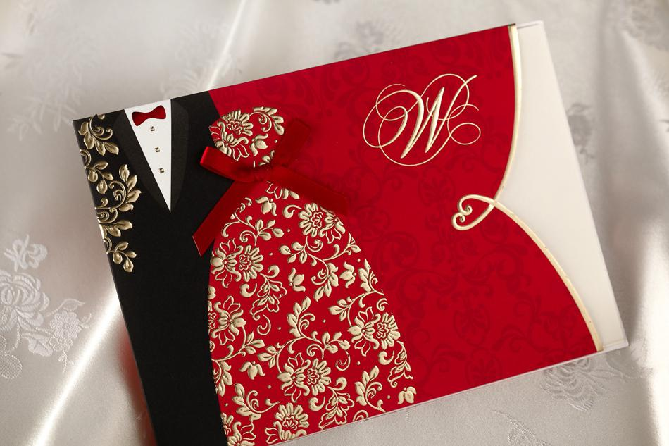 Special Wedding Invitations Cards Folded With Red Bridal