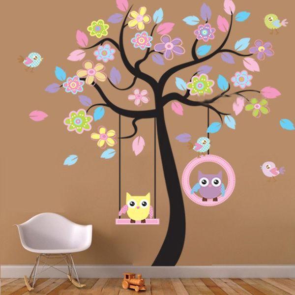 large owl bird tree swing wall sticker pvc decal for kid nursery