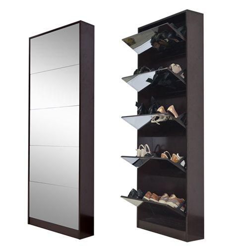 2019 Ship From USA Fashion Wood Mirror Shoe Cabinet