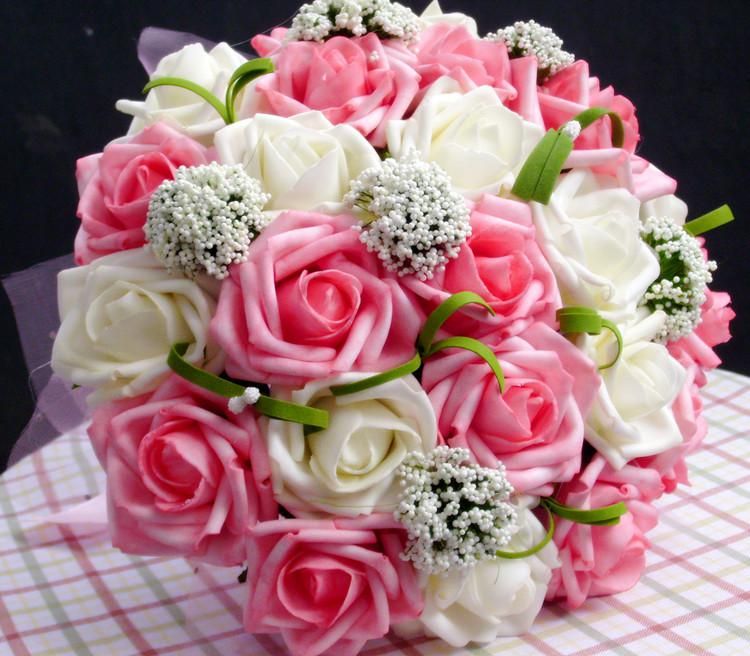 Cheap In Store Artificial Roses Flowers Wedding Bouquet