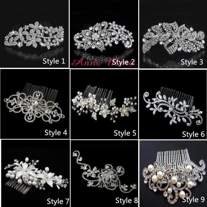 in stock 9 style bride hair combs bling jewelry pearls flower wedding hair brush wedding hair accessories with crystal no.132