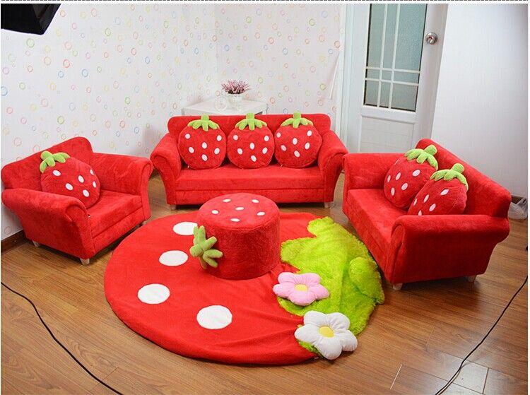 coral velvet children sofa