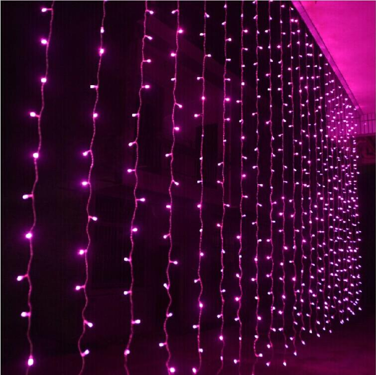 Shiny LED Curtain Colored Lights String With Controller