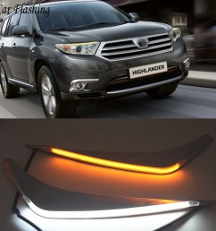 wholesale 2pcs led for toyota highlander 2012 2013 2014 daytime running light yellow turn signal relay car headlight eyebrow [ 1000 x 1000 Pixel ]