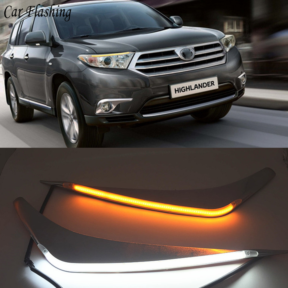 hight resolution of wholesale 2pcs led for toyota highlander 2012 2013 2014 daytime running light yellow turn signal relay car headlight eyebrow