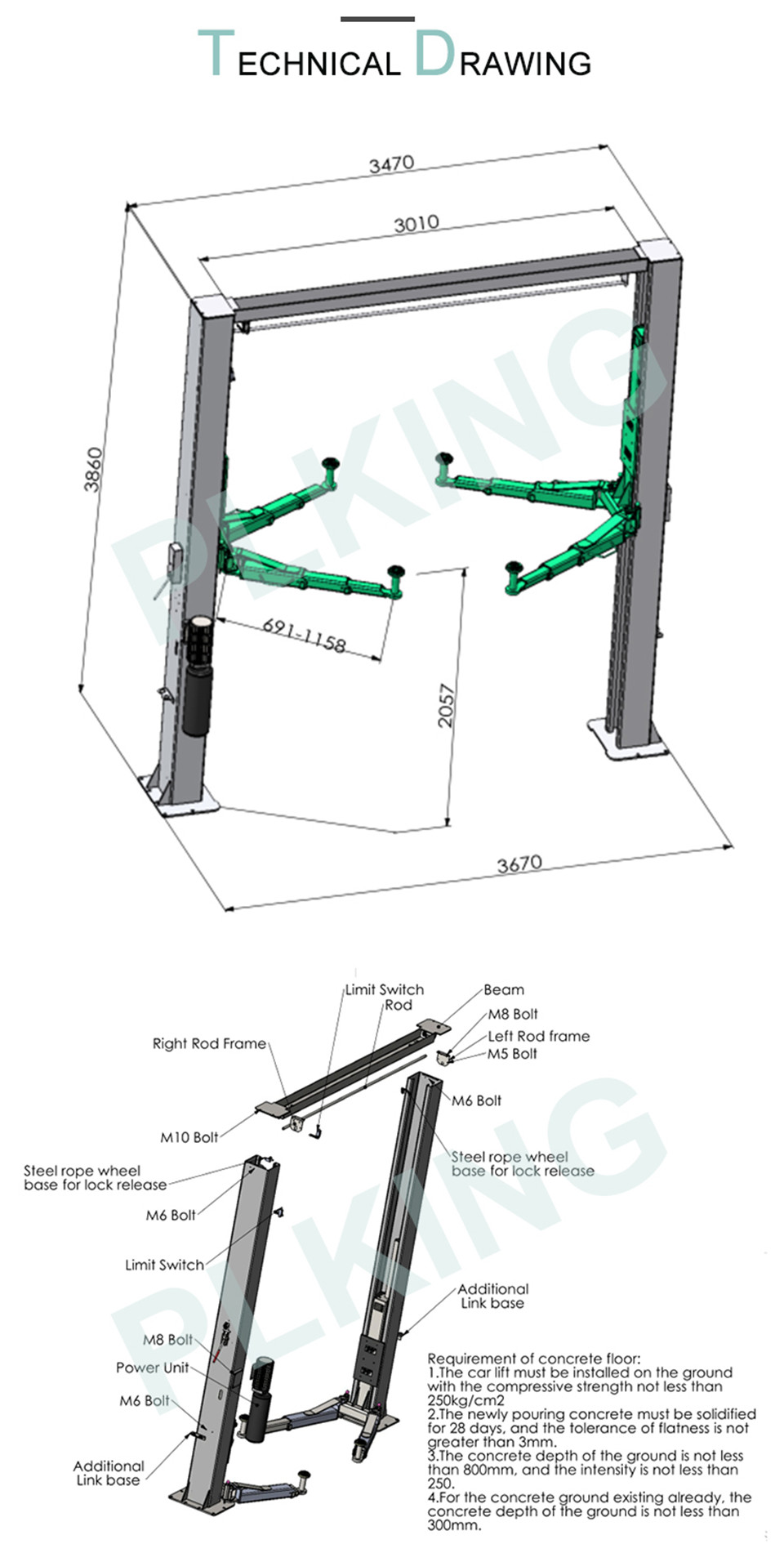 2019 4000kg Manual Release Hydraylic 2 Post Car Lift From