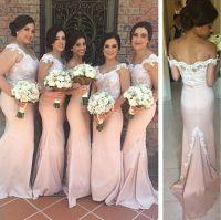 Light Pink Mermaid Bridesmaids Dresses Cap Sleeve 2018 ...