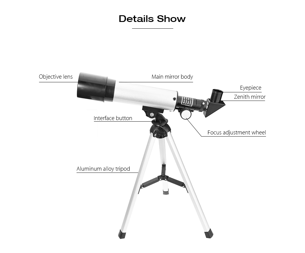 Wholesale Astronomical Monocular Telescope 2 Types Silver