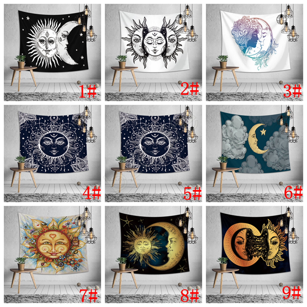 Outdoor Teppich Malta 150 130cm Sun Moon Face Print Tapestry Wall Hanging Beach Picnic Throw Rug Blanket Decor Outdoor Yoga Kids Mat 9styles Aaa1234