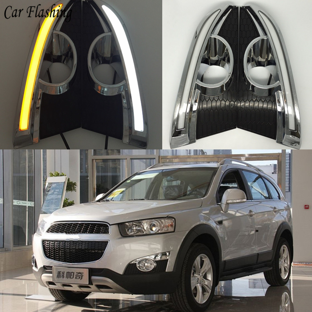 hight resolution of wholesale 2pcs 12v led drl daytime running lights for chevrolet captiva 2011 2012 2013 with turn signal relay car styling