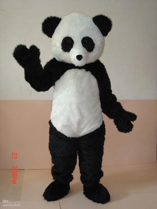 Professional Panda Bear Mascot Costume Adult Size Black
