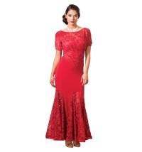 Embroidered Short Sleeve Mermaid Ballroom Dress - Dresses ...