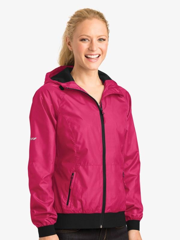 Ladies Embossed Hooded Jacket - Tops Lst53