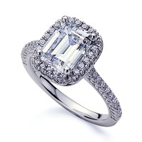 2mm Platinum Plated Sterling Silver 2.5ct CZ Halo Wedding ...
