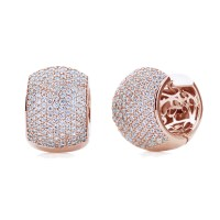 14K Rose Gold Plated Sterling Silver Cubic CZ Pave Set ...