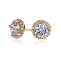 Sterling Silver 14K Rose Gold Plated Round CZ Halo Stud
