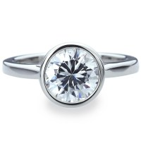8mm Platinum Plated Silver 2ct CZ Bezel Solitaire Wedding ...