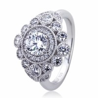14mm Platinum Plated Silver 1ct CZ Halo Vintage Wedding ...