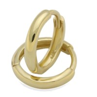 14K Yellow Gold Plain Domed 8 mm Length Huggie Hoop ...