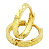 14K Yellow Gold Diamond Cut 6mm Length Huggie Hoop Earrings