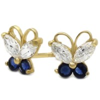 Women 14K Yellow Gold Butterfly Screwback Stud Earrings - Blue