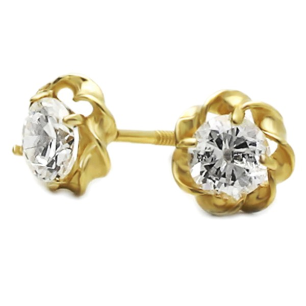 14k Yellow Gold Cut Cubic Zirconia Set Flower Screwback Stud Earrings