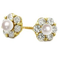 Women 14K Yellow Gold 3mm Simulated Pearl Cluster Flower ...