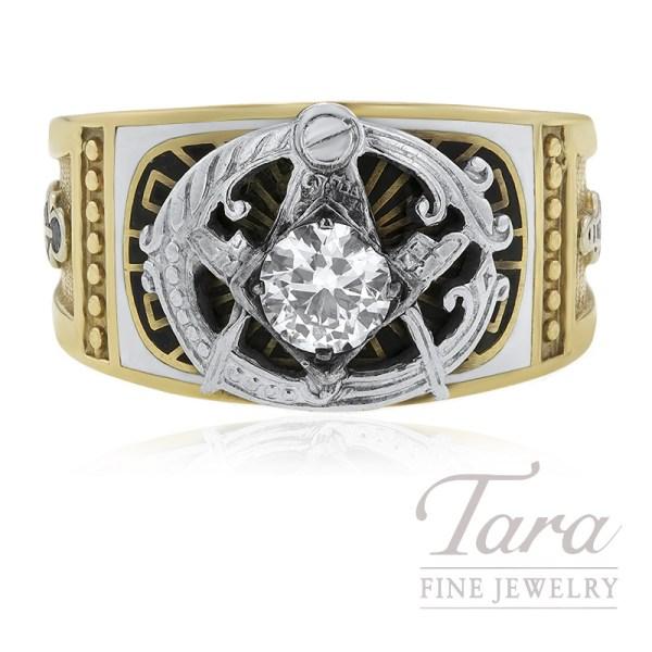 10k Yellow Gold And Diamond Masonic Ring .55