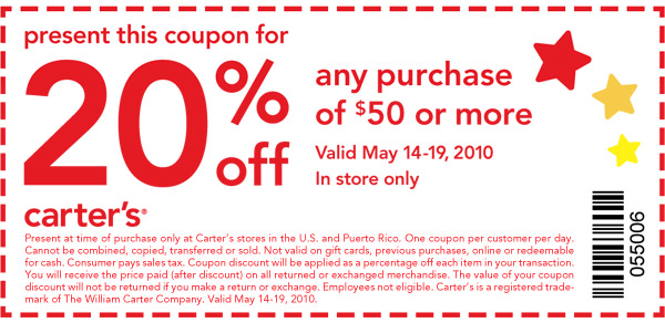 20% Off Your Next Purchase of $50 or More. Valid May 14-19, 2010.  In Store Only. Code 055006.