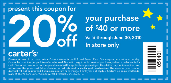 20% Off Your Next Purchase of $40 or More. Valid Through June 30,  2010. In Store Only. Code 051401.