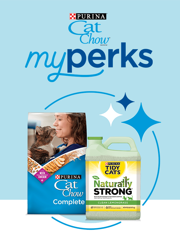 The Purina myperks logo on a blue background next to pictures of a bag of Purina Cat Chow food and a bottle of Tidy Cats Naturally Strong Cat litter.