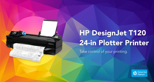 HP DesignJet T120 24-in Wireless Large Format Printer